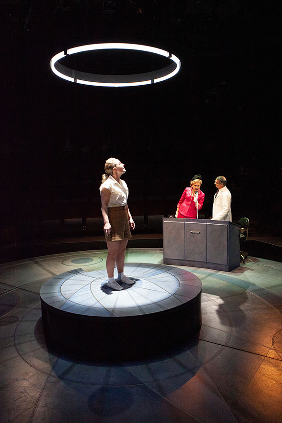 Morgan Hallett as Jerrie Cobb, Mary Beth Fisher as Jackie Cochran, and Matthew Boston as Dr. Randy Lovelace in They Promised Her the Moon, running April 6 – May 12, 2019 at The Old Globe. Photo by Jim Cox.