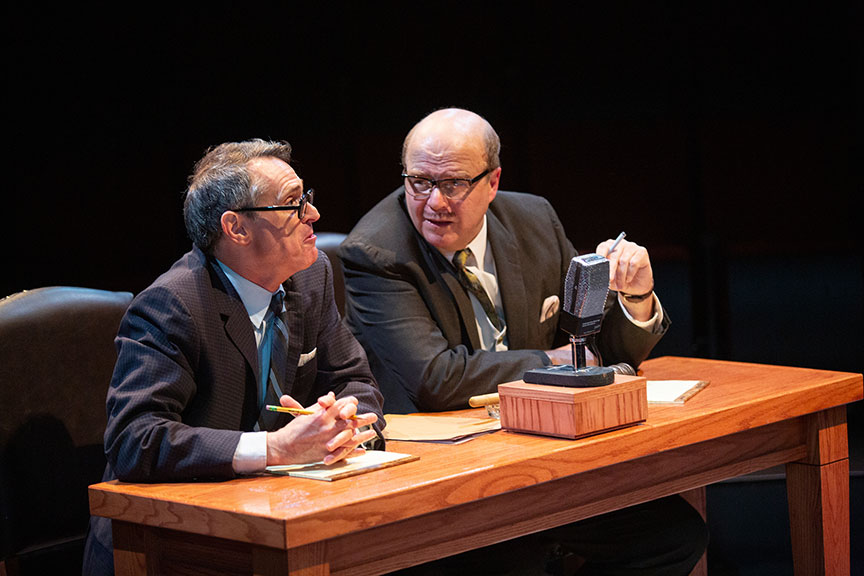 (from left) Matthew Boston as Congressman Waggonner and Michael Pemberton as Congressman Anfuso in They Promised Her the Moon, running April 6 – May 12, 2019 at The Old Globe. Photo by Jim Cox.