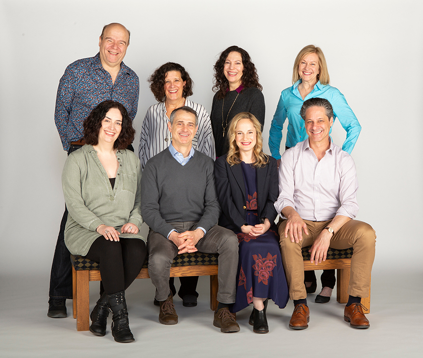 The cast of They Promised Her the Moon with playwright Laurel Ollstein and director Giovanna Sardelli (center), running April 6 – May 5, 2019 at The Old Globe. Photo by Jim Cox.