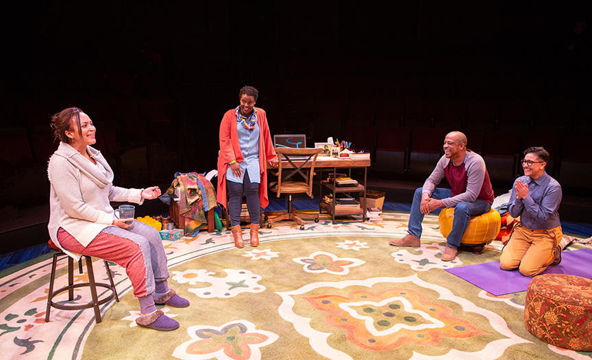 (from left) Opal Alladin as Sugar, Dorcas Sowunmi as Letter Writer #2, Keith Powell as Letter Writer #1, and Avi Roque as Letter Writer #3 in Tiny Beautiful Things, runs February 9 – March 17, 2019 at The Old Globe. Photo by Jim Cox.