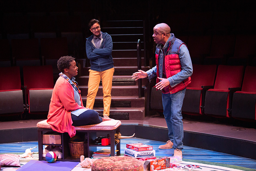 (from left) Dorcas Sowunmi as Letter Writer #2, Avi Roque as Letter Writer #3, and Keith Powell as Letter Writer #1 in Tiny Beautiful Things, runs February 9 – March 17, 2019 at The Old Globe. Photo by Jim Cox.
