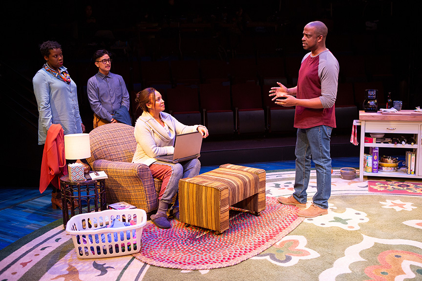 (from left) Dorcas Sowunmi as Letter Writer #2, Avi Roque as Letter Writer #3, Opal Alladin as Sugar, and Keith Powell as Letter Writer #1 in Tiny Beautiful Things, runs February 9 – March 17, 2019 at The Old Globe. Photo by Jim Cox.