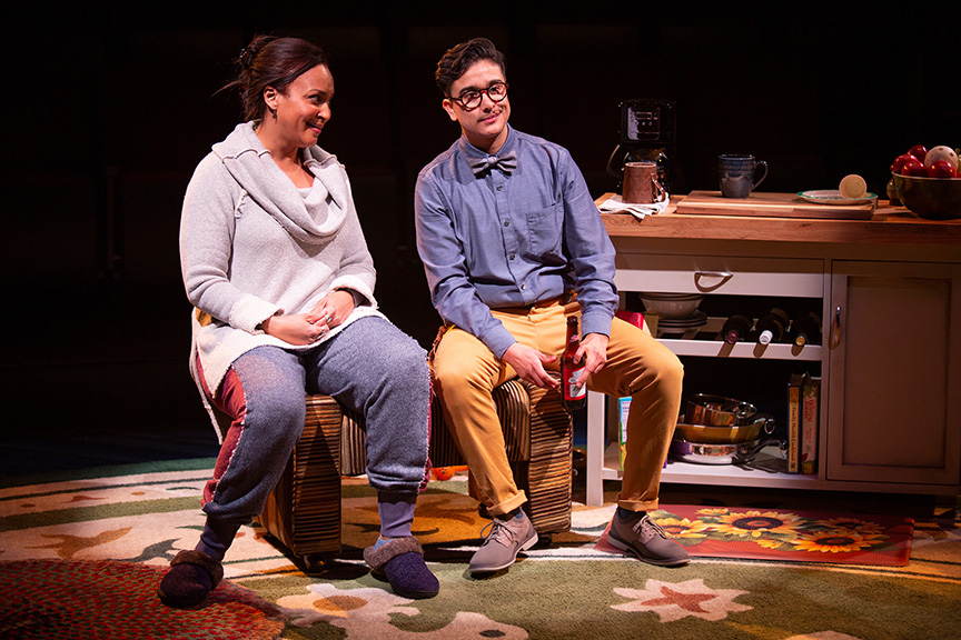 (from left) Opal Alladin as Sugar and Avi Roque as Letter Writer #3 in Tiny Beautiful Things, runs February 9 – March 17, 2019 at The Old Globe. Photo by Jim Cox.