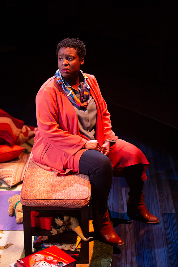 Dorcas Sowunmi as Letter Writer #2 in Tiny Beautiful Things, runs February 9 – March 17, 2019 at The Old Globe. Photo by Jim Cox.