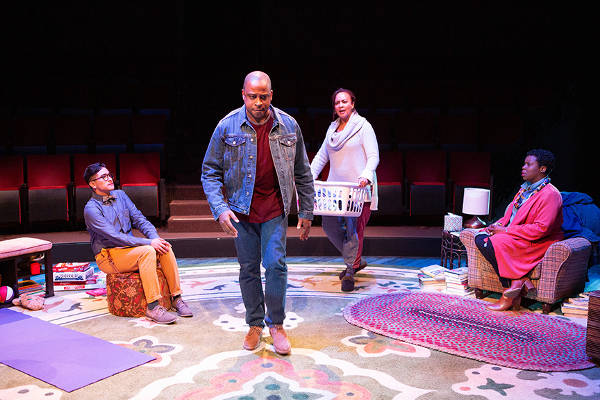 (from left) Avi Roque as Letter Writer #3, Keith Powell as Letter Writer #1, Opal Alladin as Sugar, and Dorcas Sowunmi as Letter Writer #2 in Tiny Beautiful Things, runs February 9 – March 17, 2019 at The Old Globe. Photo by Jim Cox.