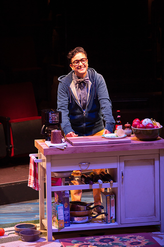 Avi Roque as Letter Writer #3 in Tiny Beautiful Things, runs February 9 – March 17, 2019 at The Old Globe. Photo by Jim Cox.