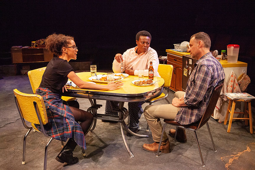 Jasmin Savoy Brown as Katie, Omozé Idehenre as Sigourney, and Jonathan Walker as Don in What You Are, running May 30 – June 30, 2019 at The Old Globe. Photo by Jim Cox.