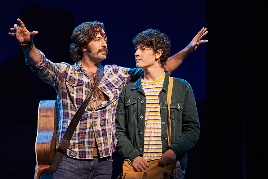 (from left) Colin Donnell as Russell Hammond and Casey Likes as William Miller. Almost Famous, a world-premiere musical with book and lyrics by Cameron Crowe, based on the Paramount Pictures and Columbia Pictures motion picture written by Cameron Crowe, directed by Jeremy Herrin, with original music and lyrics by Tom Kitt, runs September 13 – October 27, 2019 at The Old Globe. Photo by Neal Preston.