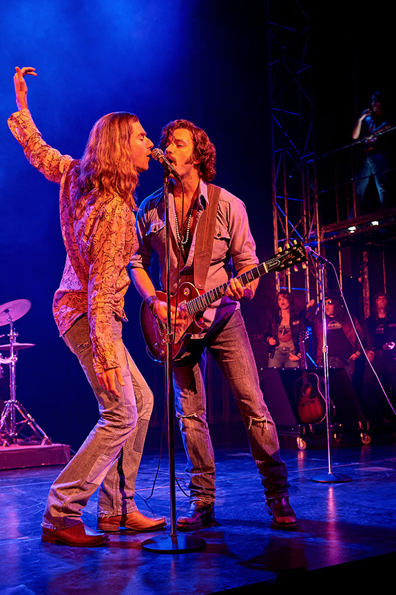 (from left) Drew Gehling as Jeff Bebe and Colin Donnell as Russell Hammond. Almost Famous, a world-premiere musical with book and lyrics by Cameron Crowe, based on the Paramount Pictures and Columbia Pictures motion picture written by Cameron Crowe, directed by Jeremy Herrin, with original music and lyrics by Tom Kitt, runs September 13 – October 27, 2019 at The Old Globe. Photo by Neal Preston.