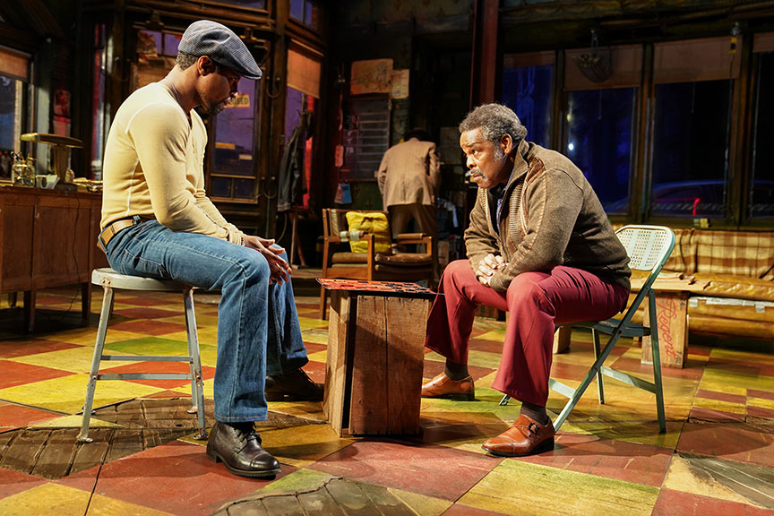 (from left) Amari Cheatom as Youngblood and Ray Anthony Thomas as Turnbo in August Wilson's Jitney, directed by Ruben Santiago-Hudson, runs January 18 – February 23, 2020 at The Old Globe. Photo by Joan Marcus.