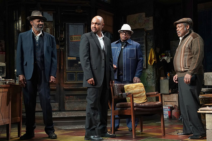 (from left) Anthony Chisholm as Fielding, Francois Battiste as Booster, Harvy Blanks as Shealy and Ray Anthony Thomas as Turnbo in August Wilson's Jitney, directed by Ruben Santiago-Hudson, runs January 18 – February 23, 2020 at The Old Globe. Photo by Joan Marcus.