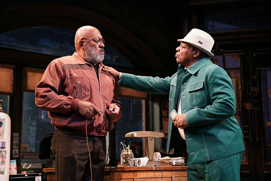 (from left) Keith Randolph Smith as Doub and Harvy Blanks as Shealy in August Wilson's Jitney, directed by Ruben Santiago-Hudson, runs January 18 – February 23, 2020 at The Old Globe. Photo by Joan Marcus.