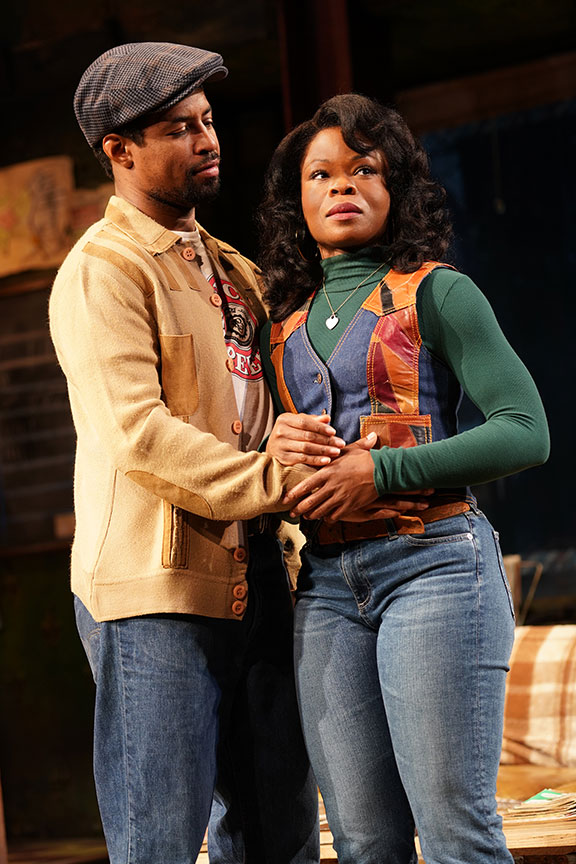 (from left) Amari Cheatom as Youngblood and Nija Okoro as Rena in August Wilson's Jitney, directed by Ruben Santiago-Hudson, runs January 18 – February 23, 2020 at The Old Globe. Photo by Joan Marcus.