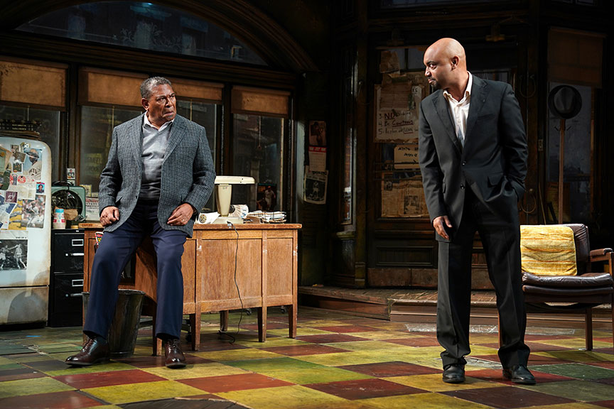 (from left) Steven Anthony Jones as Becker and Francois Battiste as Booster in August Wilson's Jitney, directed by Ruben Santiago-Hudson, runs January 18 – February 23, 2020 at The Old Globe. Photo by Joan Marcus.