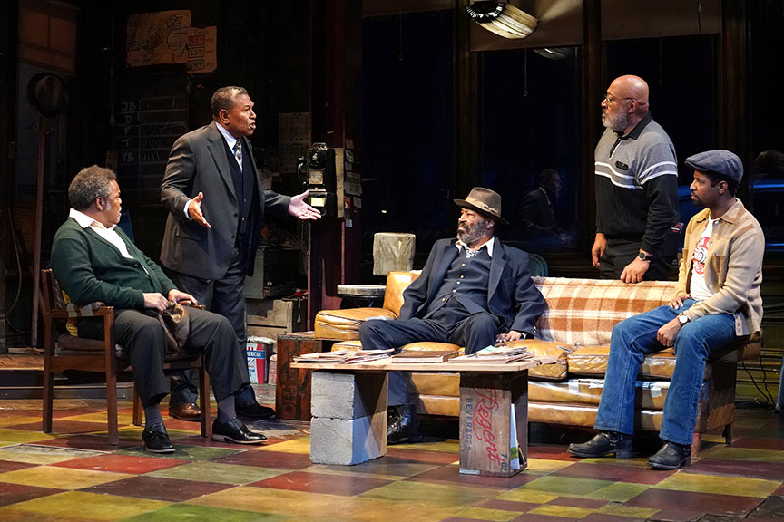 (from left) Ray Anthony Thomas as Turnbo, Steven Anthony Jones as Becker, Anthony Chisholm as Fielding, Keith Randolph Smith as Doub and Amari Cheatom as Youngblood in August Wilson's Jitney, directed by Ruben Santiago-Hudson, runs January 18 – February 23, 2020 at The Old Globe. Photo by Joan Marcus.