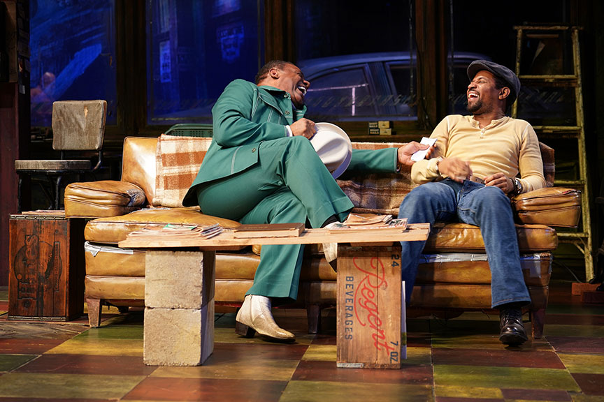 (from left) Harvy Blanks as Shealy and Amari Cheatom as Youngblood in August Wilson's Jitney, directed by Ruben Santiago-Hudson, runs January 18 – February 23, 2020 at The Old Globe. Photo by Joan Marcus.