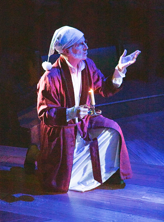 Robert Joy as Ebenezer Scrooge in Ebenezer Scrooge's BIG San Diego Christmas Show, running November 23 – December 29, 2019 at The Old Globe. Photo by Jim Cox.