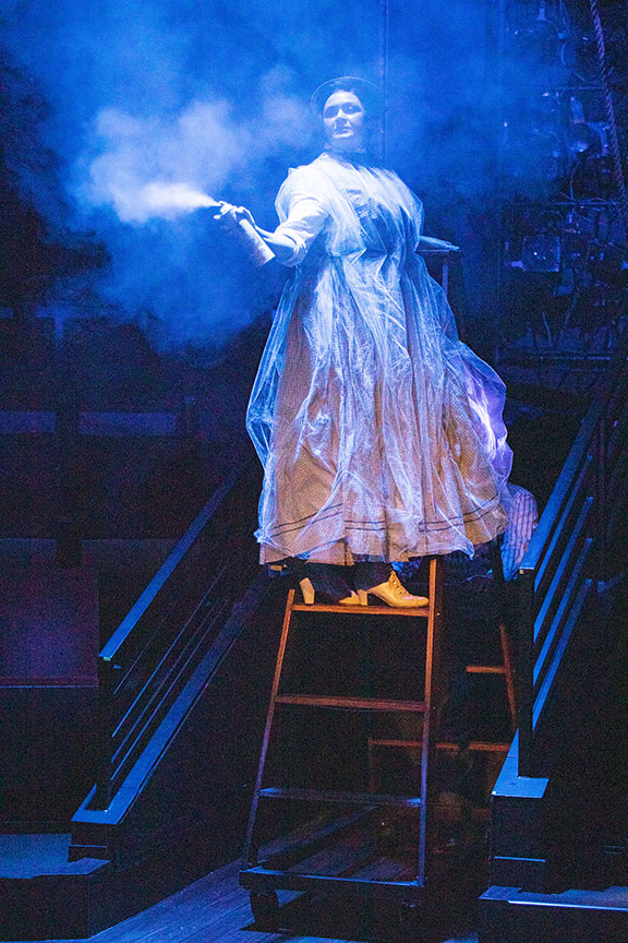 Jacque Wilke as Ghost of Christmas Past in Ebenezer Scrooge's BIG San Diego Christmas Show, running November 23 – December 29, 2019 at The Old Globe. Photo by Jim Cox.