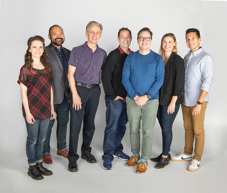 The cast with co-writer Steve Rosen and co-writer and director Gordon Greenberg (center) of Ebenezer Scrooge's BIG San Diego Christmas Show, running November 23 – December 29, 2019 at The Old Globe. Photo by Jim Cox.