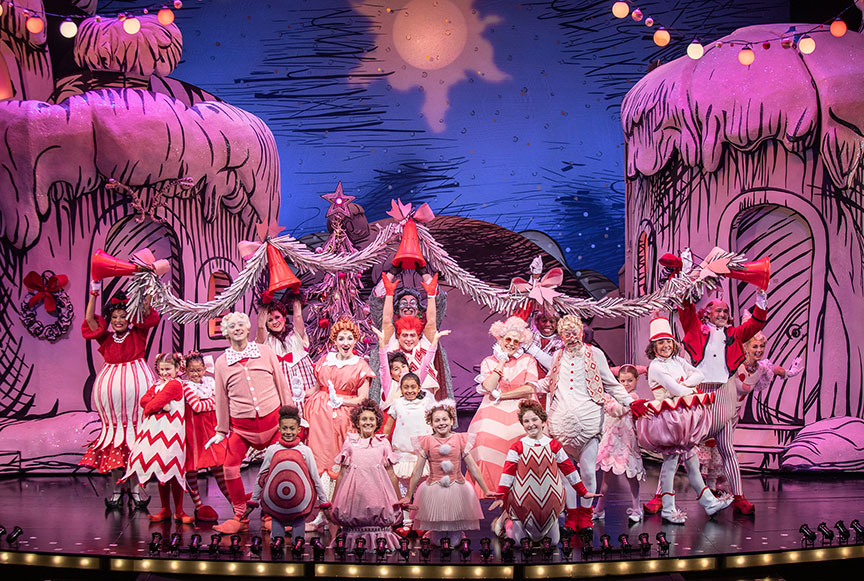 The cast of Dr. Seuss's How the Grinch Stole Christmas!, book and lyrics by Timothy Mason, music by Mel Marvin, original production conceived and directed by Jack O'Brien, original choreography by John DeLuca, and directed by James Vásquez, running November 10 – December 29, 2019 at The Old Globe. Photo by Jim Cox.