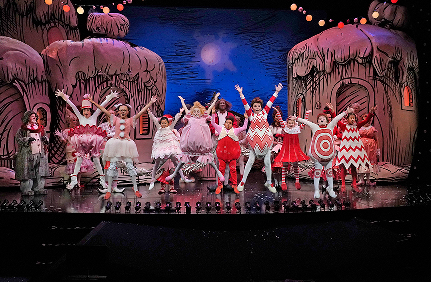 The cast of Dr. Seuss's How the Grinch Stole Christmas!, 2018. Book and lyrics by Timothy Mason, music by Mel Marvin, original production conceived and directed by Jack O'Brien, original choreography by John DeLuca, and directed by James Vásquez, running November 10 – December 29, 2019 at The Old Globe. Photo by Ken Howard.