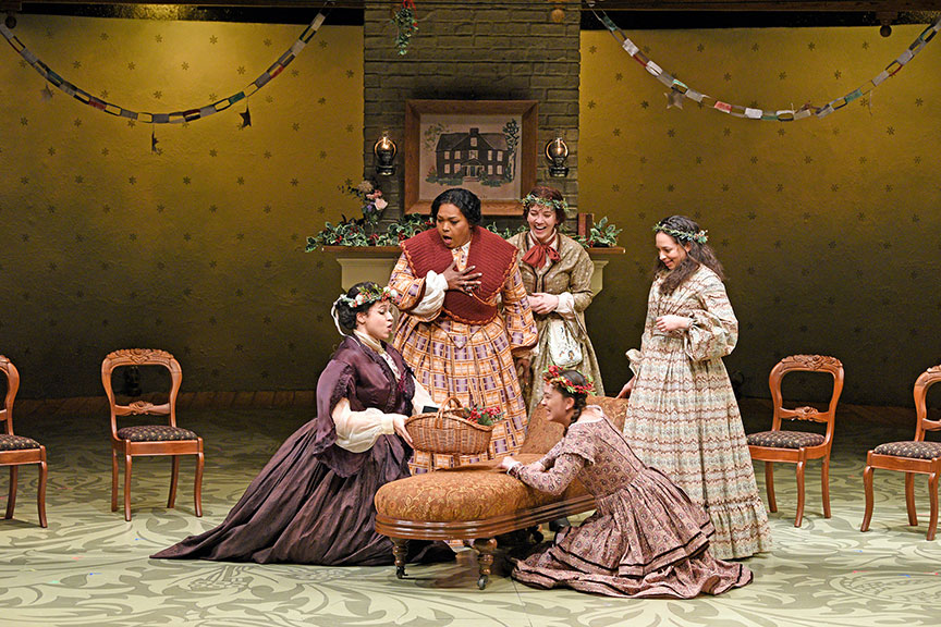 (from left) Jennie Greenberry as Meg March, Liz Mikel as Marmie, Pearl Rhein as Jo March, Lilli Hokama as Amy March, and Maggie Thompson as Beth March. The West Coast premiere of Little Women by Kate Hamill, directed by Sarah Rasmussen, presented in association with Dallas Theater Center, runs March 14 – April 19, 2020 at The Old Globe. Photo by Karen Almond.