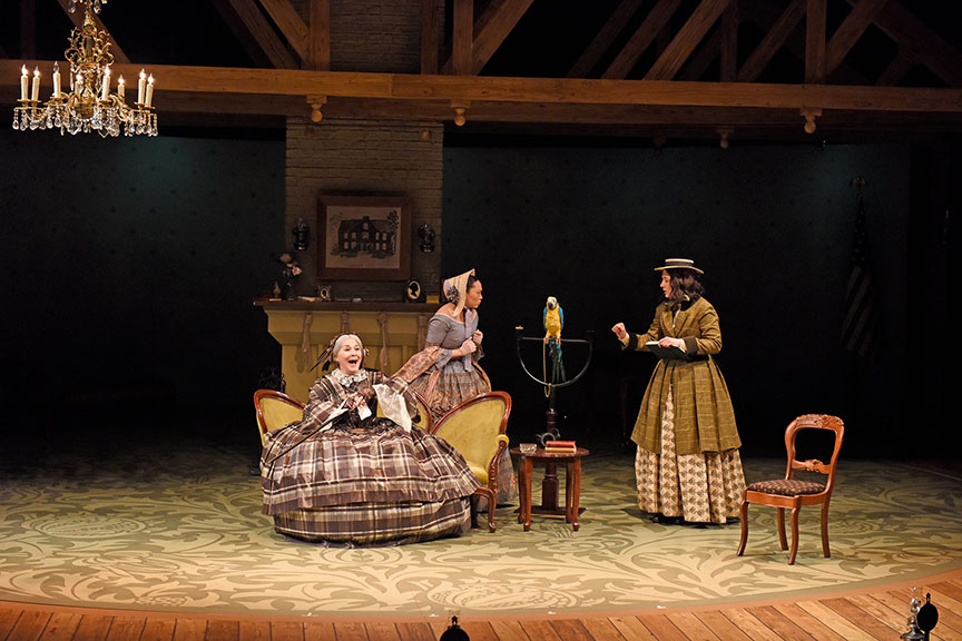 (from left) Sally Nystuen Vahle as Aunt March, Lilli Hokama as Amy March, and Pearl Rhein as Jo March. The West Coast premiere of Little Women by Kate Hamill, directed by Sarah Rasmussen, presented in association with Dallas Theater Center, runs March 14 – April 19, 2020 at The Old Globe. Photo by Karen Almond.