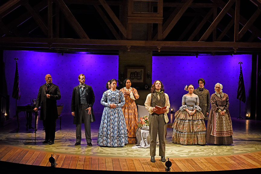 The company of the West Coast premiere of Little Women by Kate Hamill, directed by Sarah Rasmussen, presented in association with Dallas Theater Center, running March 14 – April 19, 2020 at The Old Globe. Photo by Karen Almond.