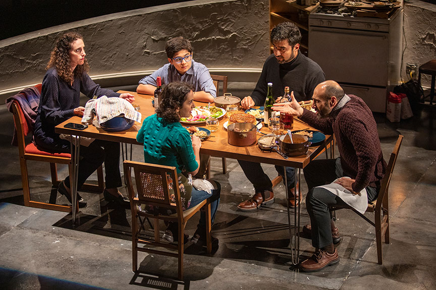 (from left) Lameece Issaq as Noura/Nora, Giovanni Cozic as Yazen/Alex, Isra Elsalihie as Maryam, Fajer Kaisi as Rafa'a, and Mattico David as Tareq/Tim. Noura, by Heather Raffo,  and directed by Johanna McKeon, runs September 20 – October 20, 2019 at The Old Globe. Photo by Jim Cox.