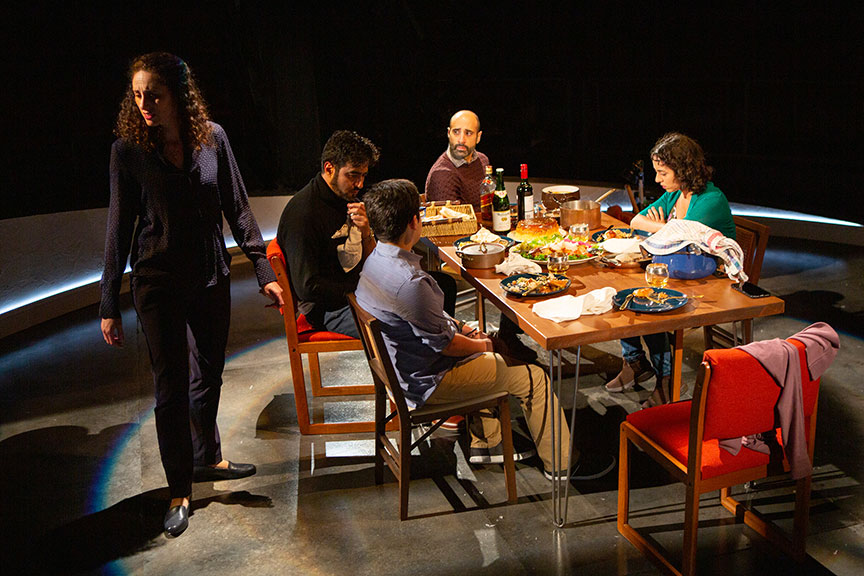 (from left) Lameece Issaq as Noura/Nora, Fajer Kaisi as Rafa'a, Giovanni Cozic as Yazen/Alex, Mattico David as Tareq/Tim, and Isra Elsalihie as Maryam. Noura, by Heather Raffo,  and directed by Johanna McKeon, runs September 20 – October 20, 2019 at The Old Globe. Photo by Jim Cox.
