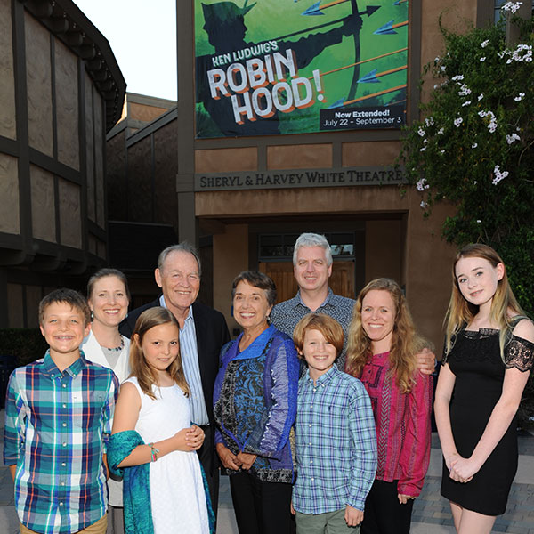 Hal and Pam Fuson with their family at The Old Globe. Photo by Douglas Gates.