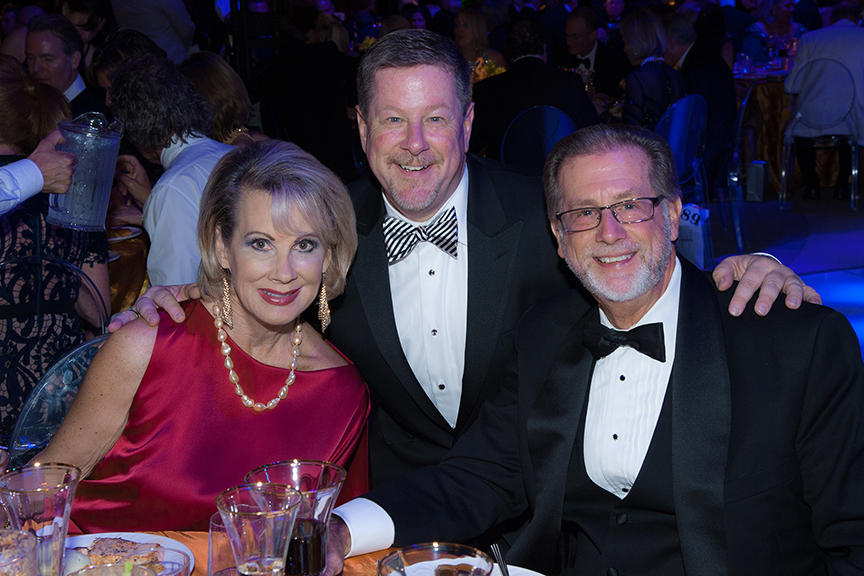 Board member Lynne Wheeler, Michael Murphy, and Steve Wheeler at the 2016 Globe Gala – A Night of Revels – on Saturday, September 24, 2016. Photo by Bob Ross.