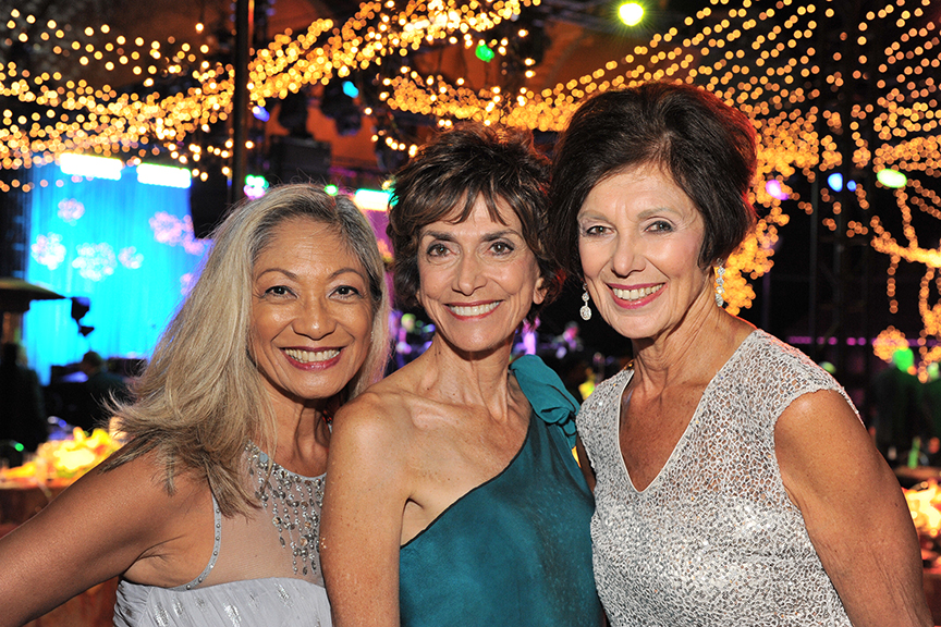 Board member Ann Davies (Right) and Joyce Gattas (Middle) at the 2016 Globe Gala – A Night of Revels – on Saturday, September 24, 2016. Photo by Douglas Gates.